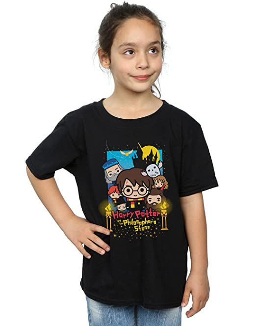 HARRY POTTER niñas Philosophers Stone Junior Camiseta 5-6 Years Negro
