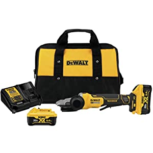DEWALT DCG413FR2 20V Max XR 5In. Flathead Paddle Switch Small Angle Grinder with Kickback Brake Kit
