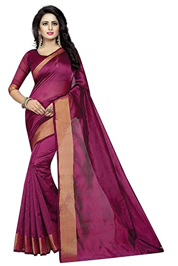 d97ea4daab Widespread Collection Cotton Silk Saree With Blouse Piece(Wdsp_573_Black  Goldf_Free Size): Amazon.in: Clothing & Accessories
