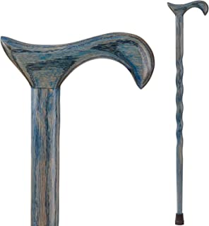 product image for Handcrafted Wood Walking Cane - Made in the USA by Brazos - Twisted Oak - 34 Inches - Denim