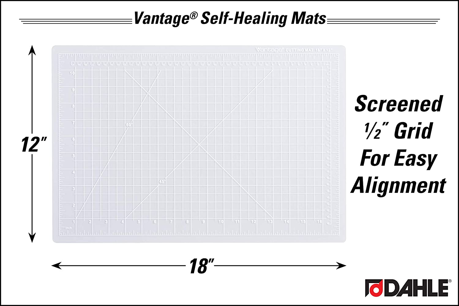 Dahle Vantage 10672 Self-Healing 5-Layer Cutting Mat Perfect for Crafts and Sewing 24 x 18 Black Mat