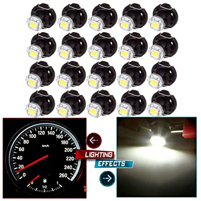 cciyu 20 Pack Blue T4/T4.2 Neo Wedge LED Climate Base Light Lamp Bulbs (white): Automotive