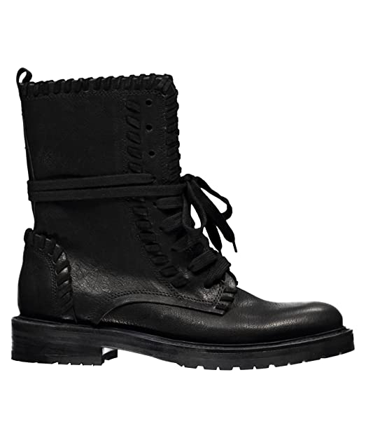 Kennel & Schmenger Women's Contrast Stitch Combat Boot Black Leather Boot UK 3.5 (US Women's 6) M