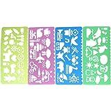 Y-BOA 4pcs Règles Pochoir Stencil Dessin Outils Diy Artisanat Jouet Enfants Scolaire Bureau Gabarit Coloriage