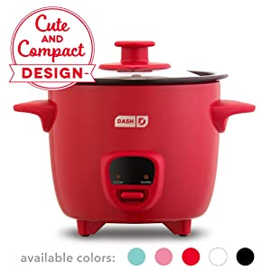 Dash DRCM200GBRD04 Mini Rice Cooker Steamer with Removable Nonstick Pot, Keep Warm Function & Recipe Guide Red