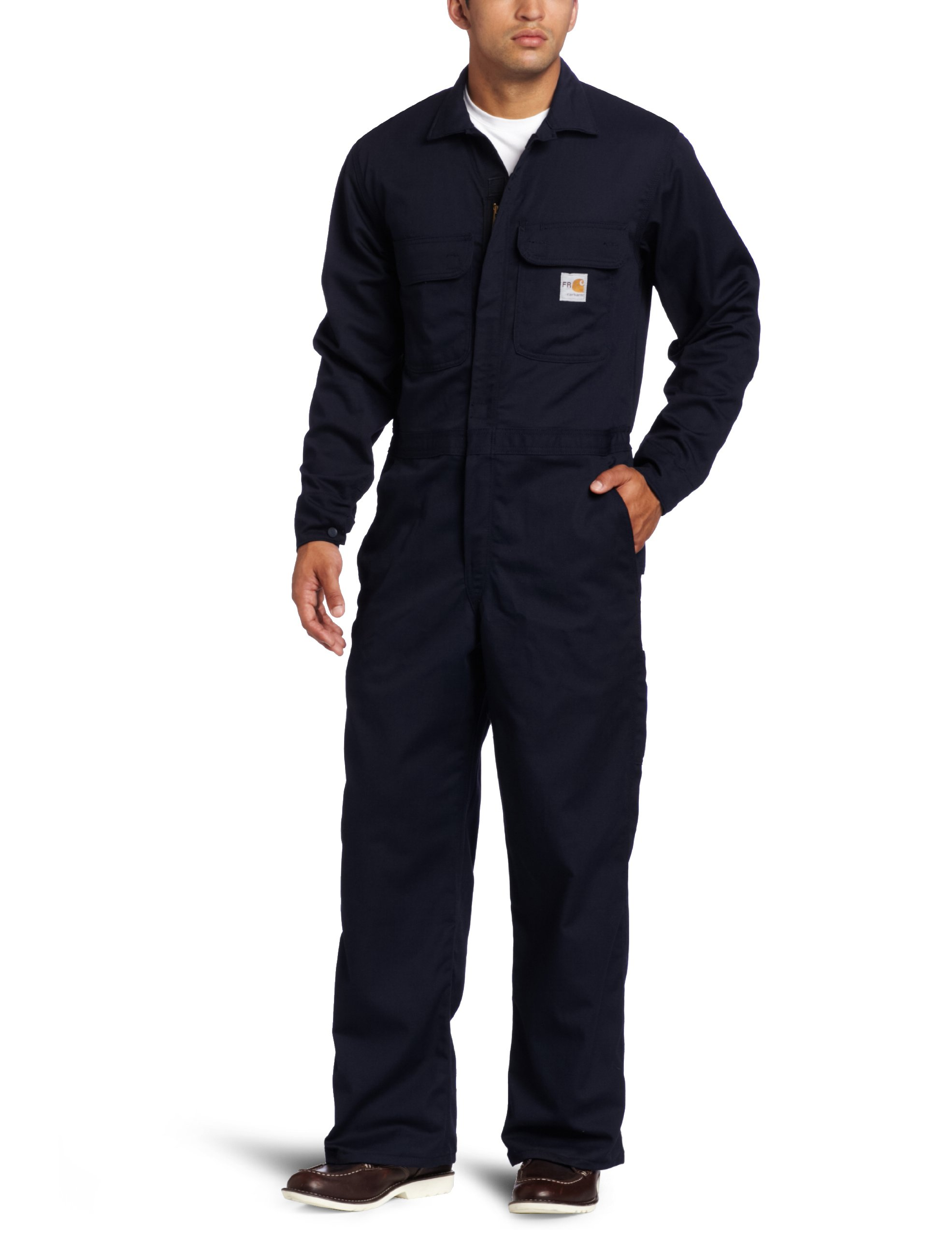 Carhartt Men's Big & Tall Flame Resistant Traditional Twill Coverall,Dark Navy,46 Tall