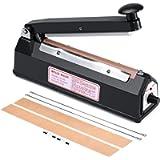 Metronic 8 inch Impulse Bag Sealer Poly Bag Sealing Machine Heat Seal Closer with Repair Kit in Black