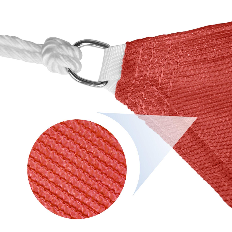 E K Sunrise 18 x 22 Red Rectangle Sun Shade Sail Outdoor Shade Cloth UV Block Fabric,Curve Edge-Customized