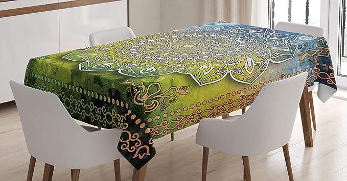 Imagen deABAKUHAUS Étnico Mantele, Mandala de Boho, Resistente al Agua Lavable Colores No Destiñen Personalizado, 140 x 200 cm, Multicolor