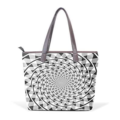 SCDS White Flowers PU Leather Lady Handbag Tote Bag Zipper Shoulder Bag