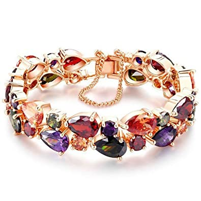 YAZILIND Buckle Bracelet Rose Gold Plated Hollow Flower Color Cubic Zirconia for Women