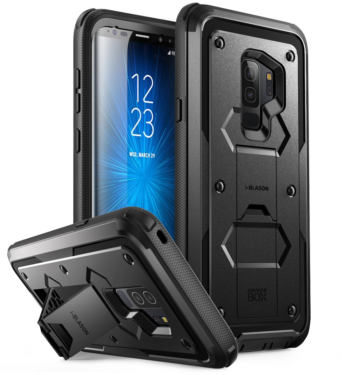 Galaxy S9+ Plus Case, i-Blason [Armorbox] [Full body] [Heavy Duty Protection ] [Kickstand] Shock Reduction/Bumper Case WITHOUT Screen Protector for Samsung Galaxy S9+ Plus (2018 Release) (Black)