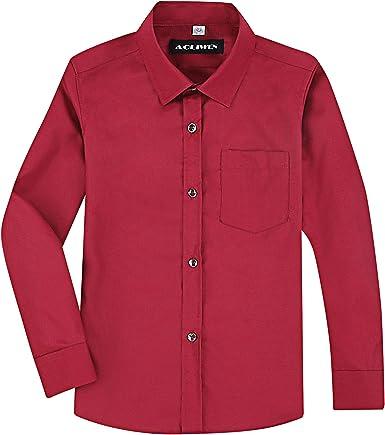 AOLIWEN Camisa de Vestir de Manga Larga para niños, Uniforme, Uniforme, con Botones