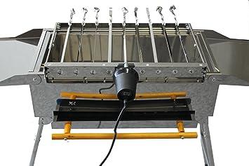 Brocheta giratoria para barbacoa de acero inoxidable, incluye 9 brochetas, motor, soporte para mangal: Amazon.es: Jardín