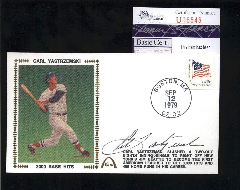Carl Yastrzemski Red Sox HOF Autographed Signed 3000 Base Hits Cachet Fdc Cover JSA Authentic