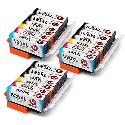 Uoopo 5 Colores Compatible Reemplazo para Canon PGI-525XL CLI ...
