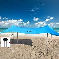 Family Beach Shade Tent Sun Shelter Canopy Pop Up Umbrellas for Sand Portable Cool-Cabanas Lightspeed Best Light Easy…