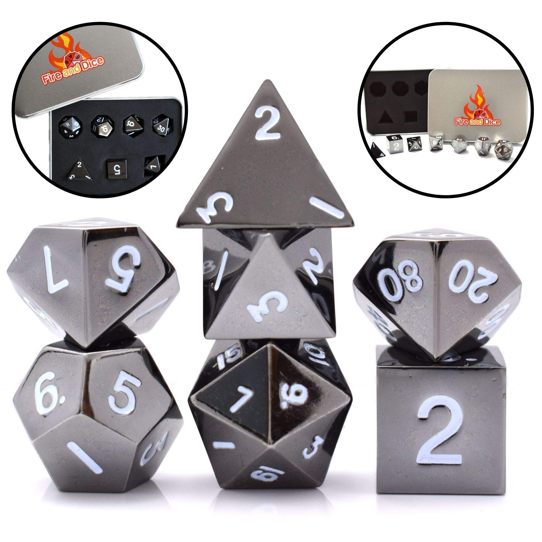 Metal Dice Set for Dnd Dice, Rpg Dice, Game Dice. Polyhedral Dice Set with Metal Case by Fire And Dice