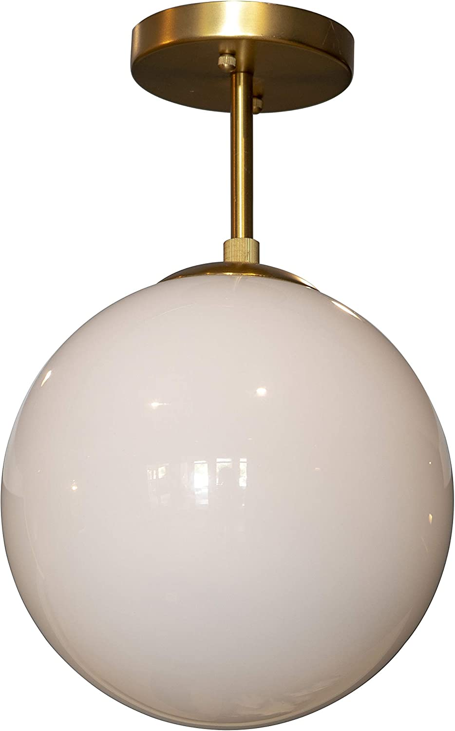 Décor Therapy CH1911 Michael Milk Glass 1 Semi Flush Mount Ceiling Light, Antique Brass