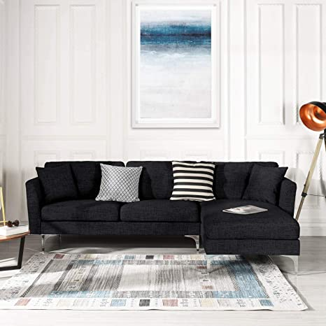 Black Upholstered Linen Sectional Sofa Couch| Modern L-Shape Sectional, Sectional Sofas and Couches, Sofa Couch with Chaise, for Small/Large Living ...