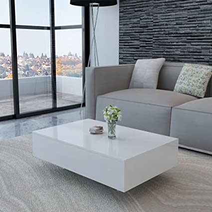 Xinglieu Coffee Table High Gloss Living Room Furniture White Amazon