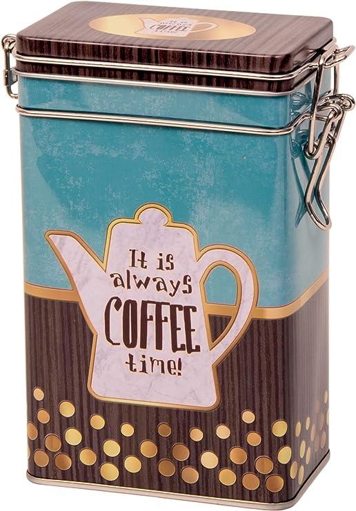 Quality Calidad es Siempre Tiempo de café – Estilo Vintage Café Pot diseño Rectangular Lata de café/Caddy/Kitchen Almacenamiento Lata/Recipiente – Hermeticamente Sellado – Oro, Agua, marrón – 250 g: Amazon.es: Hogar