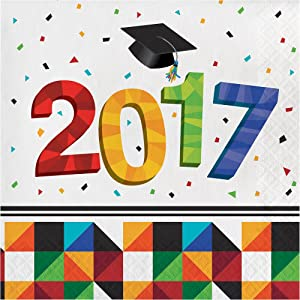 Creative Converting 36 Count Paper Lunch Napkins for Graduation Party, Fractal Fun