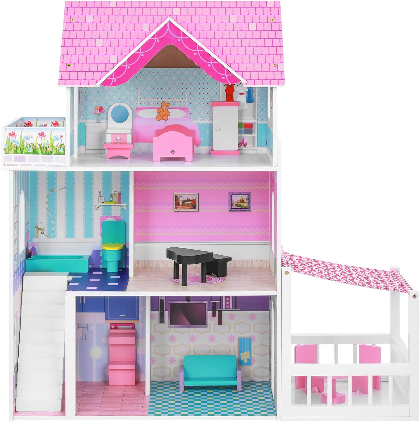 BABLE Dollhouse with Dollhouse Furniture, Doll House for Little Girls 3-8 Year Old, Kids Pretend Play Doll House Toy Play Set Perfect Girls' Toy with Accessories, for Girl