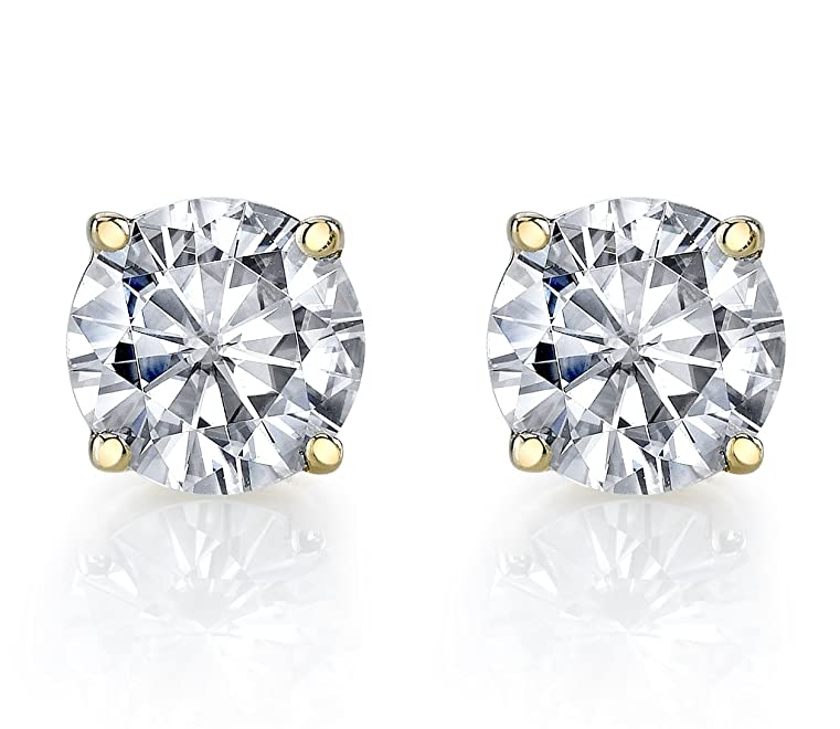 3a97084ad Charles & Colvard 6mm Forever Classic Moissanite Set in Solid 14k Gold 4  Prong Friction Back Stud Earrings (1.36cttw Moissanite,