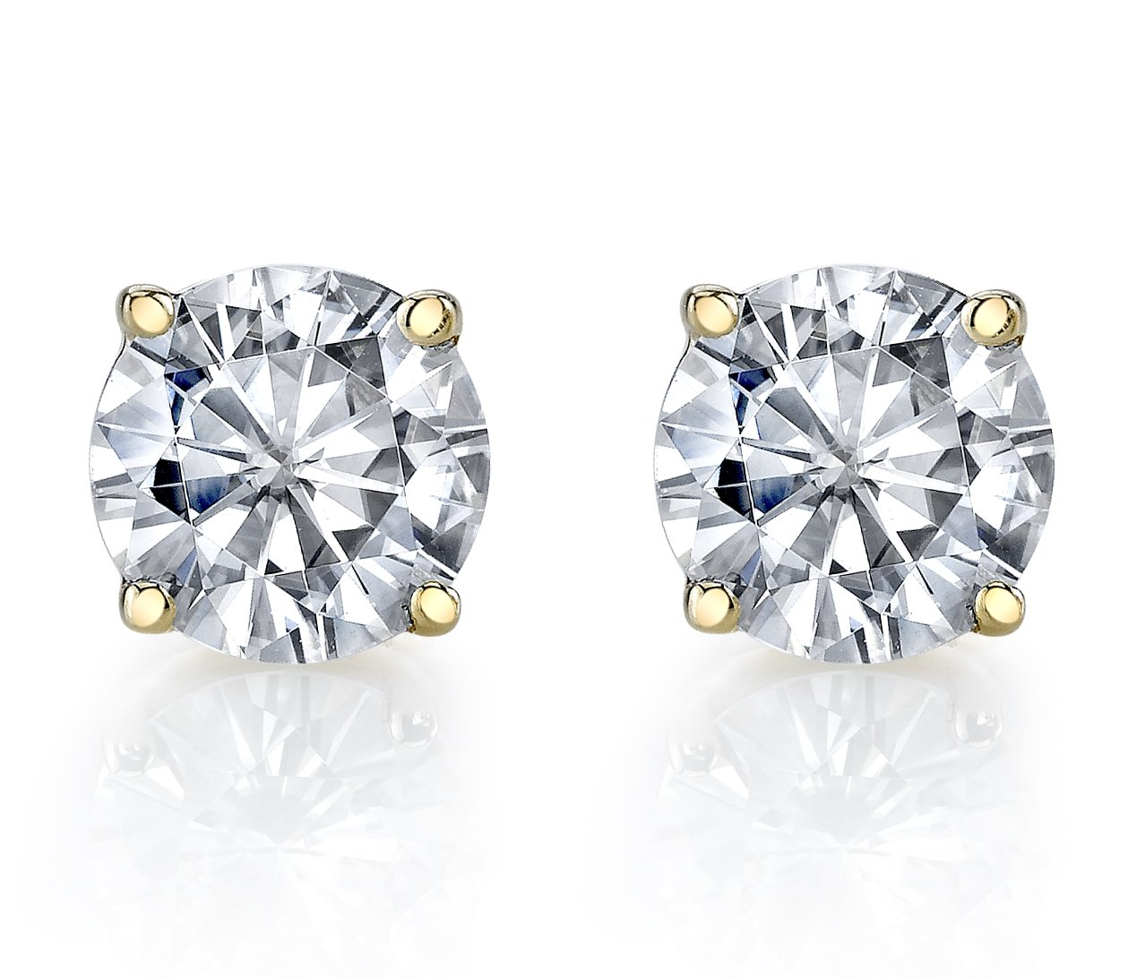 Charles & Colvard 6mm Forever Classic Moissanite Set in Solid 14k Yellow Gold 4 Prong Screw Back Stud Earrings (1.36cttw Moissanite, 1.60ct DEW, Near Colorless)