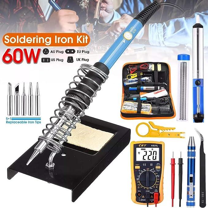 60W professionnel r/églable temp/érature /électrique 200-450 ℃ fer /à souder soudure r/éparation bricolage outil