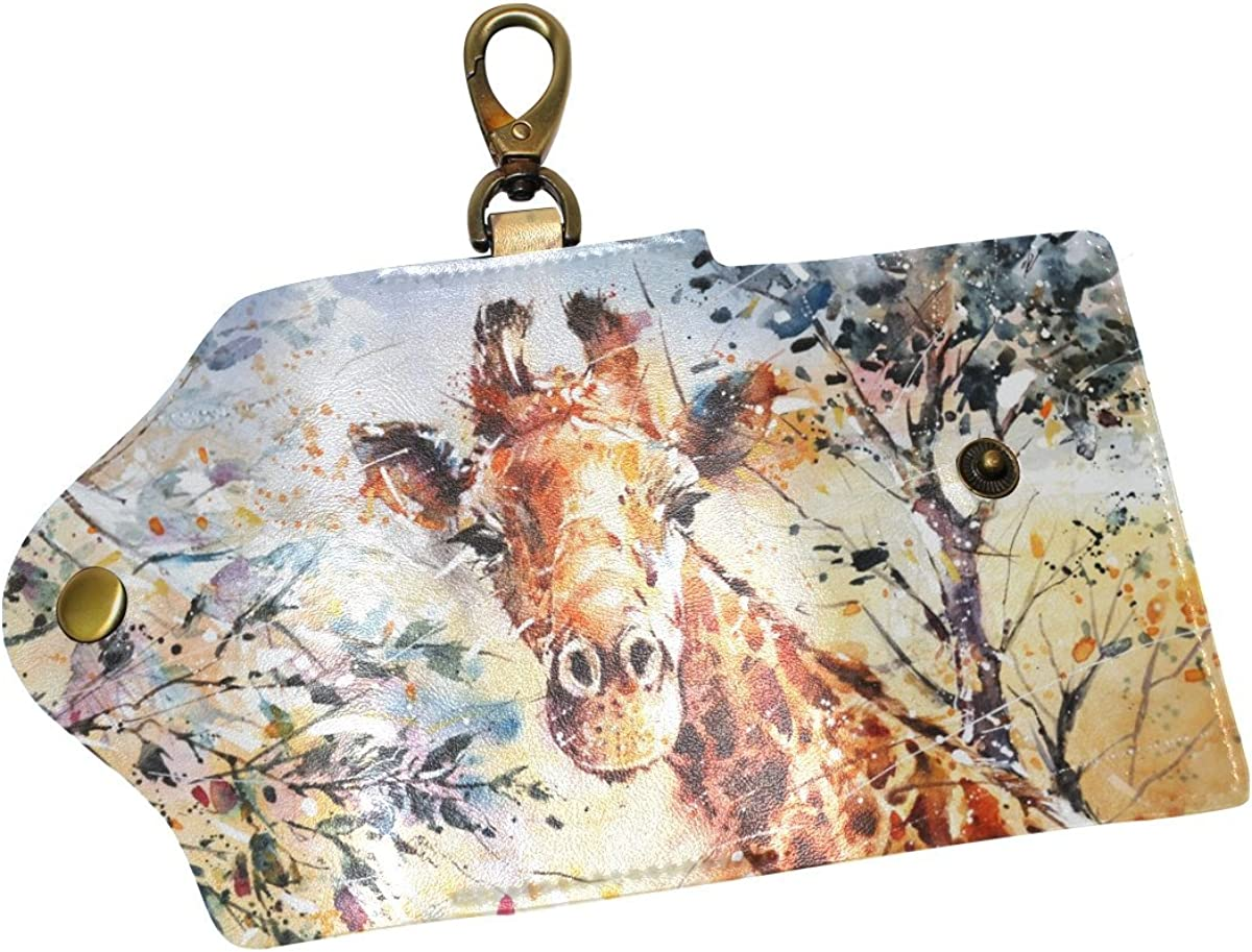 DEYYA Giraffes Painting/_Art Leather Key Case Wallets Unisex Keychain Key Holder with 6 Hooks Snap Closure