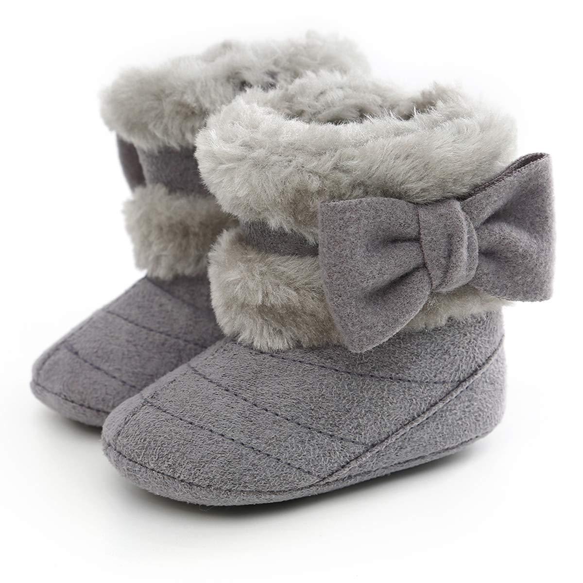 Yinuoday Winter Baby Girls Shoes Toddler Snow Boots Warm Prewalker Newborn Boots Anti-Slip