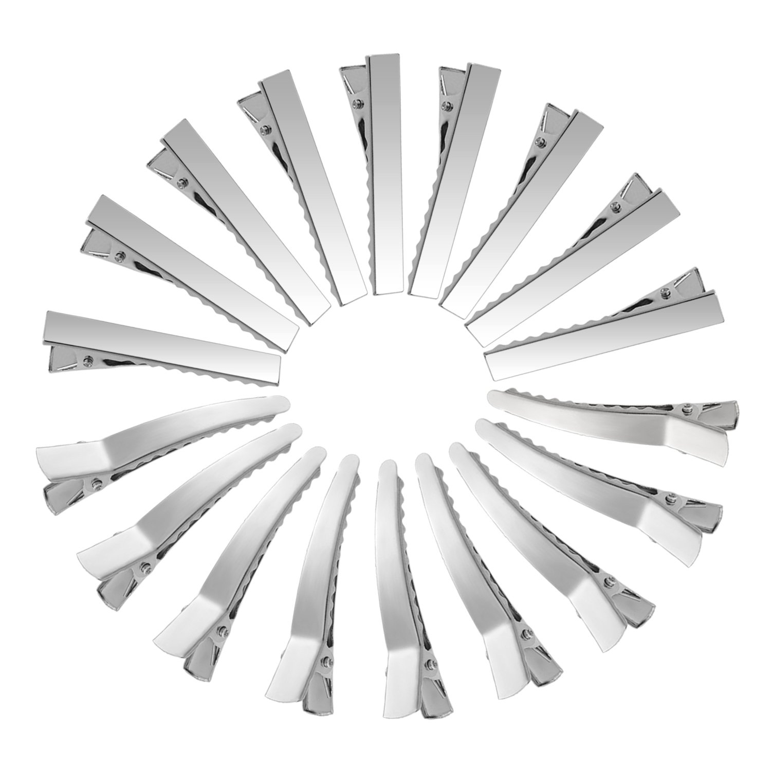 50 Pieces Metal Crocodile Alligator Hair Clips Barrette Hair-Non-Slip DIY Accessories Hairgrip for Women and Girls, 2 Styles (Silver) Mudder