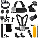 Luxebell Accessories Kit for AKASO EK5000 EK7000 4K WIFI Action Camera Gopro Hero 7 6 /Session 5/Hero 4/3+/3/2/1 (12-in-1)