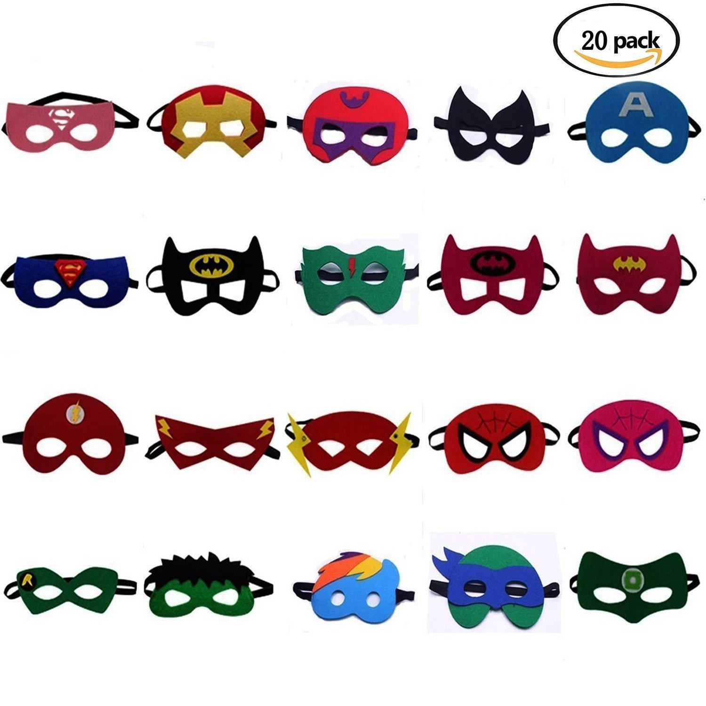 BUWANT 20 Piezas Máscaras de Superhéroe Superheroes Party Masks for Children- Suministros de Fiesta Cosplay, Perfecto para Niños Mayores de 3 Años