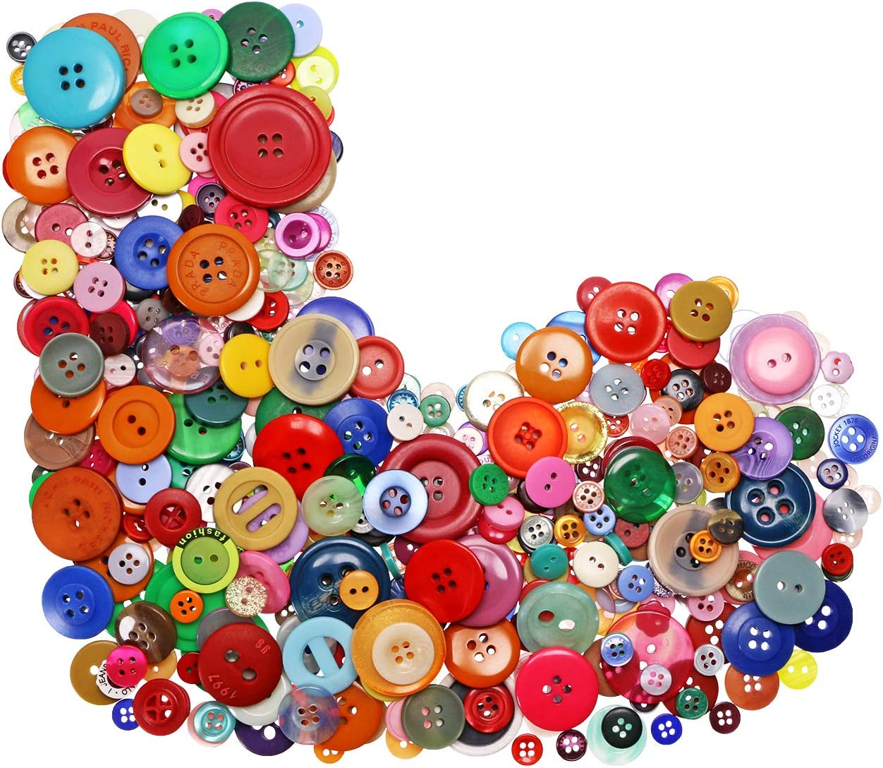 Tupalizy 500-600PCS Assorted Sizes and Shapes Resin Buttons for Sewing Mixed Colors Round Craft Buttons for Kids DIY Art Craft Project Manual Button Painting Classroom School Home Use (Multicolor)