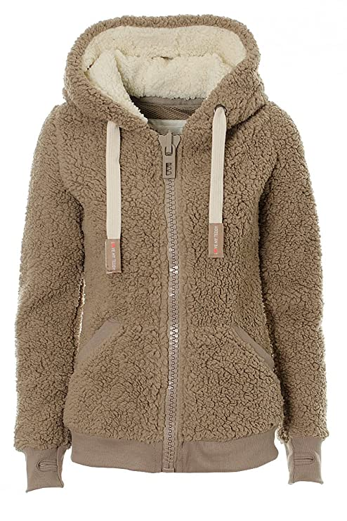 Kooos New Ladies Womens Soft Teddy Sherpa Fleece Hooded Jumper Hoody Jacket (Taupe, M) best women's faux sherpa jackets