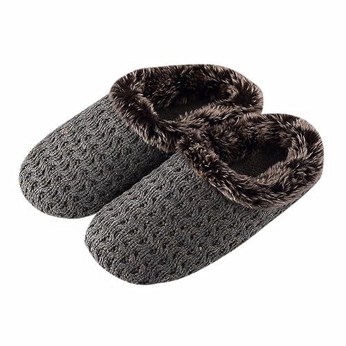YALL Hombres Y Mujeres Zapatillas Lana Ganchillo Térmica Ocio Hogar Algodón Arrastre Antideslizante Gris37-38: Amazon.es: Zapatos y complementos