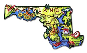 Maryland the Old Line State Artwood Jumbo Fridge Magnet