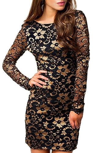 MYWY - Abito pizzo donna vestito maniche lunghe elegante miniabito vestitino party