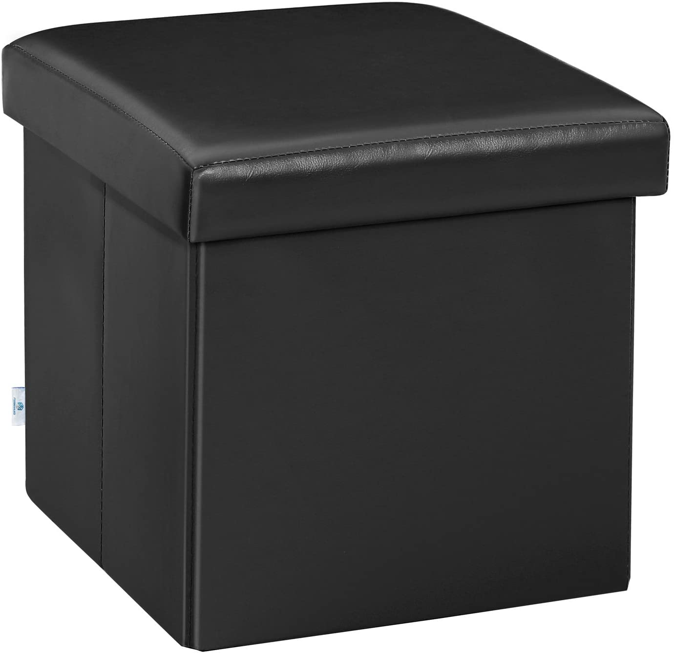 "B FSOBEIIALEO Folding Storage Ottoman Cube with Faux Leather Toy Chest Footrest for Baby Black 11.8""x11.8""x11.8"""