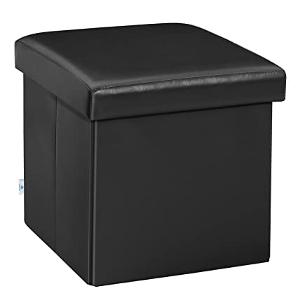 8c57ae577882 B FSOBEIIALEO Folding Storage Ottoman Cube with Faux Leather Toy Chest  Footrest for Baby Black 11.8