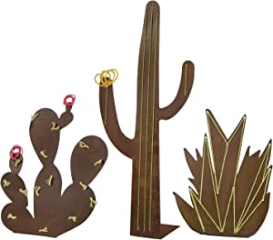 Cactus Decorations - Standing Stitched Metal Cacti Home Decor (Set of 3)