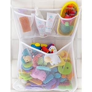 Welecom Filet de rangement en mailles fines jouets de bain bébé Pochettes de rangement murales, Filet de rangement jouets en maille fine avec ventouses