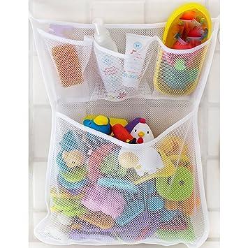 red de malla, bolsa de almacenamiento, organizador de juguetes ... - Organizador De Juguetes Para Bano