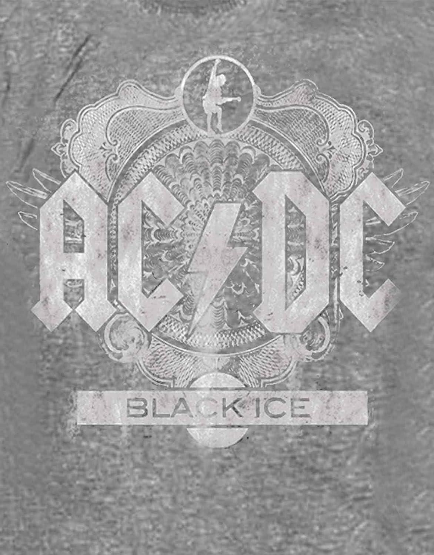AC//DC T Shirt Black Ice Album Cover Band Logo Official Mens New Grey Burnout