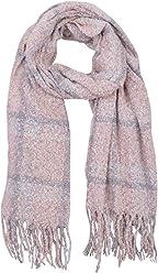 SIX Großer kuscheliger warmer Bouclé Schal mit pastellfarbenen rosa grau creme weißen Karos, 60 x 200 cm (705-501)