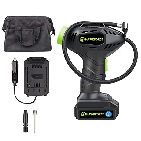 Tire Inflator, Hawkforce Cordless Portable Air Compressor Car Tire Air Pump with Easy to Read