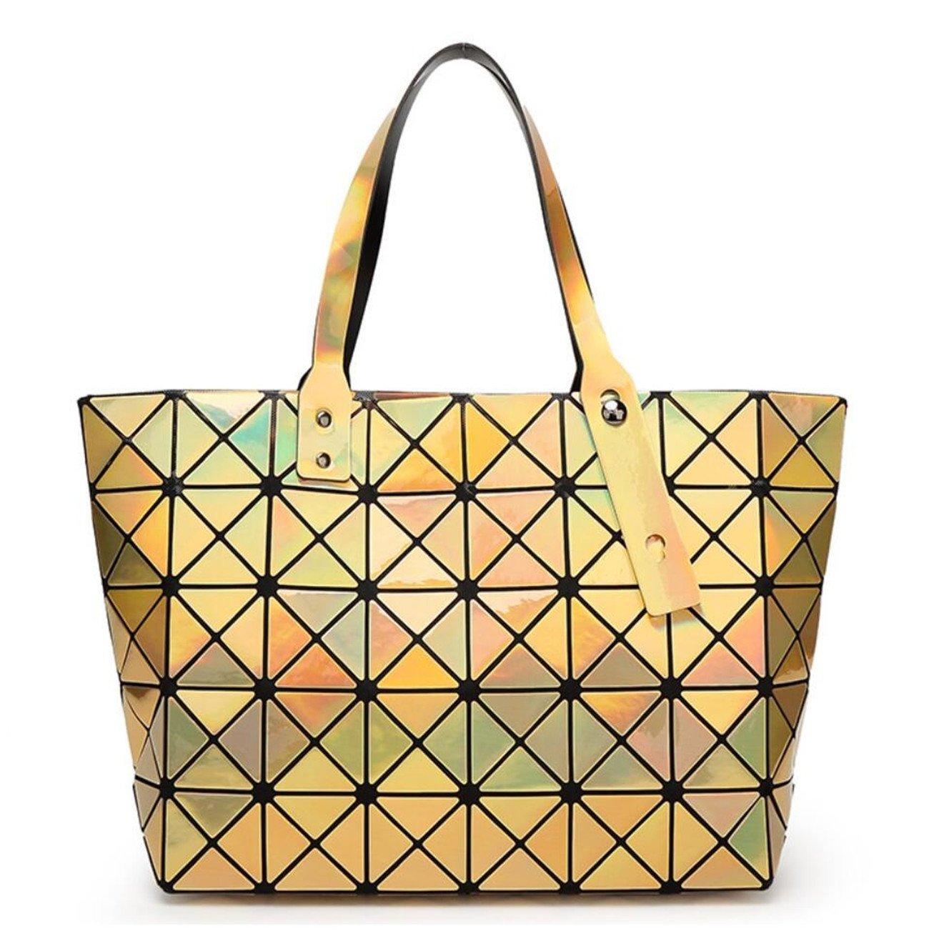 Kayers Sulliva Women's Fashion Geometric Diamond Lattice Tote Glossy PVC Shoulder Bag Top-handle Handbags